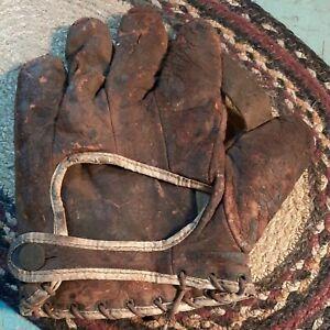 Antique Spaulding Baseball Glove Mit Very Well Worn