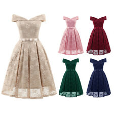Womens Vintage Lace Wedding Ladies Off Shoulder Party Evening Swing Skater Dress