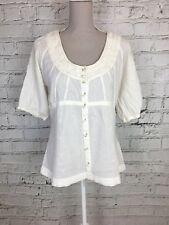 VERO MODA - White 1/2 Sleeve Scoop Neck Casual Button Top - Womens - Size L