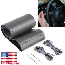 """Steering Wheel Cover Black Genuine Leather Outer Diameter 38cm(14.5""""-15"""") 1 Kit"""