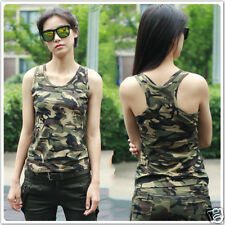 Women's Army Camo Camouflage Casual Gym Sport Sleeveless T-Shirt Tank Top Vest