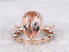 Morganite & Diamond Bridal Wedding Ring Set 14k Rose Gold