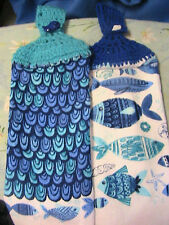 OCEAN FISH~STARFISH~2 CROCHET TOP kitchen~bath~hand towels~WHALE~SHELL BUTTONS