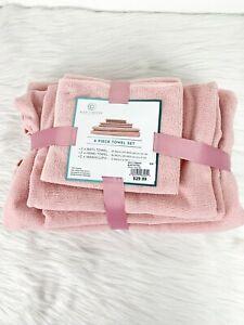 Blue Lagoon 6 pc Towel Wash Cloth Set Pink Microfiber Spa Collection Rose Blush