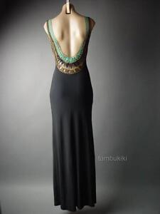Grecian Goddess Crochet Open Back Long Maxi Black Formal Gown 236 mv Dress S M L