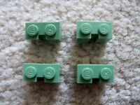 LEGO - Super Rare - 4 Sand Green Brick, Modified 1 x 2 with Groove - From 10185