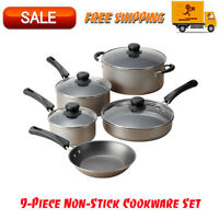 Tramontina 9-Piece Non-Stick Cookware Set, Champagne, Dishwasher Safe, Kitchen