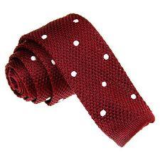 Men's Wine Red White Polka Dot Tie Knit Knitted Necktie Narrow Skinny ZZLD066