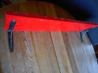 """Vintage Red Farmhouse Country Shabby Wood Wall Shelf 29.5"""" long pre owned"""