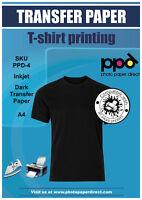 PPD A4 Dark Inkjet T Shirt Transfer Paper X 10 W/ Free P&P