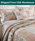 Shabby+Chic+Cottage+Country+Floral+Quilt+Throw+Blanket+Coverlet+Bedspread+Set+P
