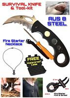 Search & Rescue AUS 8A Multitool Knife Set Set Fire Starter Necklace Hard Case
