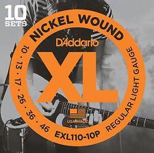 D'Addario EXL110-10P Electric Guitar Strings 10 Sets Regular Light 10-46