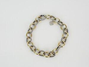 David Yurman 18K Gold Sterling Silver Medium Oval Chain Link Bracelet 7.5 inch