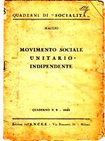 opuscolo movimento sociale unitario indipendente di Maglio 1945