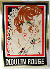 """Completed Needlepoint Moulin Rouge Red Head Woman Framed 16 1/4"""" x 22 1/2"""" Paris"""