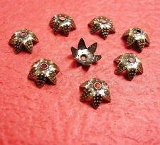 50pc 6mm antique bronze metal bead caps-7925