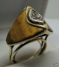 EXQUISITE  DESIGN 14K GOLD TIGER EYE DIAMOND RING