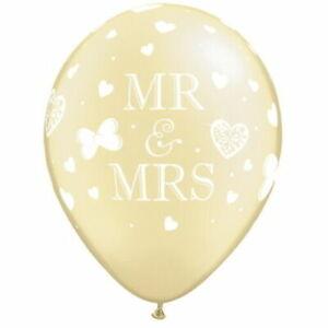 "5pk Mr & Mrs Butterflies 11"" Ivory Latex Balloons Wedding Party Helium Qualatex"