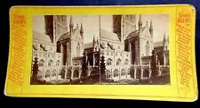 1890'S STEREOVIEW CARD CANTERBURY CATHEDRAL EXTERIOR CHURCH OF ENGLAND
