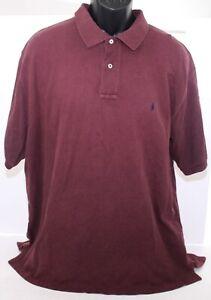 Polo Ralph Lauren Polo Golf Tennis Shirt Maroon + Navy Blue Pony Adult Mens XL