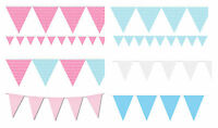 Bunting Blue Pink Baby Shower Boy Girl Flags Party Birthday Gender Pastel Mix