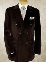 Mens Designer Grooms Wedding Double Breasted Brown Velvet Coat Blazer Jacket