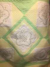 VTG Yellow Green FLORAL Applique NEEDLECRAFT Quilt UNFINISHED Needlepoint TOP