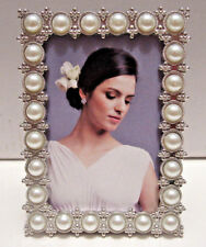 "2x3"" Silver Tone White Pearl Metal Bridal Wedding Picture Photo Frame 2X3"" NEW"