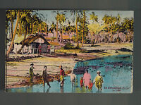 1938 Noumea New Caledonia Postcard Cover to Brno Czechoslovakia Family in Lagoon