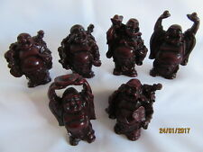 FENG SHUI ROSEWOOD COLOURED RESIN  SET OF 6 ASSORTED  BUDDHAS - 60MM - 80MM