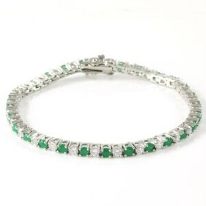 5.00 Ct Green Emerald & White Sapphire 18K White Gold Over Tennis Bracelet
