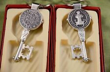 2 Saint Benedict key Chain medal Key to heaven 2 ½ in tall