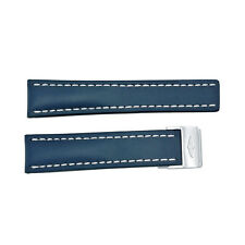 Breitling Strap styled in Blue Leather and White Stitching  112X-A2D.1