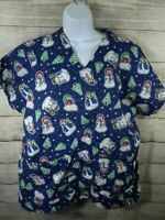 Christmas Holiday Large Scrub Top Blue Snowman Nurse Medical Uniform Womens