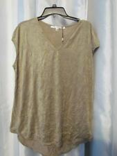 NWT Studio M Short Sleeve Perforated Faux Sueded Top XL Org $58.00