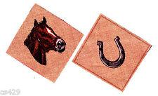"2"" Horse Head Stallion Mare Farm Animal Shoe Square Set Fabric Applique Iron On"