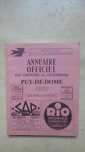 ANCIEN ANNUAIRE OFFICIEL DU TELEPHONE PUY DE DOME 1967 BOTTIN
