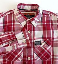 Superdry Mens Casual Shirt Red Plaid Size M Pockets 100% Cotton Long Sleeved