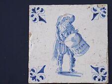 Delft Blue Tile Man on Drums 17th century