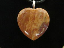 Arizona Petrified Wood - 30 mm Heart Cabochon Pendant with Necklace - Group 1