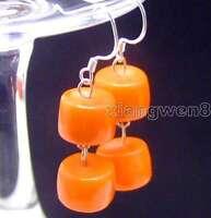 10-11mm GENUINE Orange Thick Slice Natural Coral Dangle Earrings for Women e354