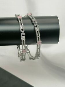 2 Silver Bangles With Pink And White American Diamond Stones Size 2.6