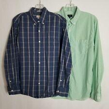 J Crew Mens Casual Long Sleeve Cotton Button Down Shirt Size Medium Lot of 2 V03