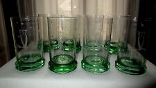 Duncan Miller Set of 8 Owl Cutting Crystal w/ Green Base Old Fashion Ftd Tumbler