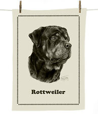 Mike Sibley Rottweiler dog breed cotton tea towel - dog lover gift
