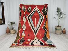 Moroccan Handmade Boujaad Rug 5'2''x8'6  Geometric Berber Berber Wool Carpet