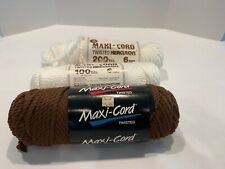 Maxi-Cord Macrame Yarn; 6mm Lot 3 2-100 yards each White & Brown & 1 Used