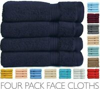 Allure Luxury Soft Zero Twist Egyptian Cotton Face Cloth Pack of 4 Flannel Towel