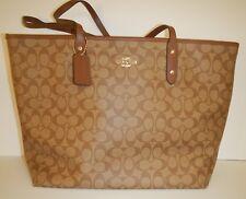 COACH 14929 Khaki & Saddle 2 Signature C Large City Zip Tote Handbag NWT